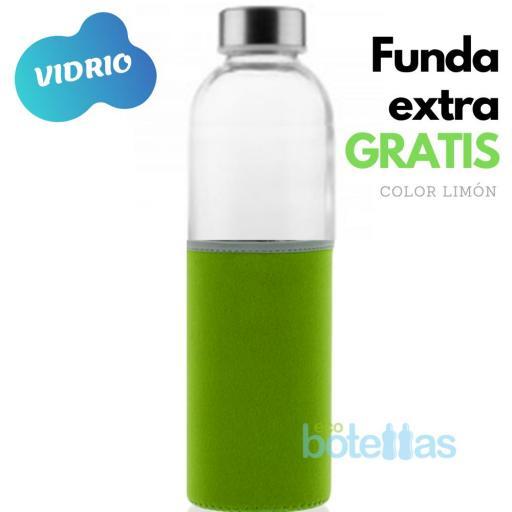 102-S Botella cristal Funda neopreno Verde (750ml)