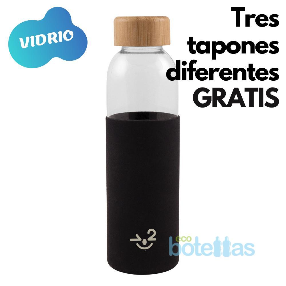 102-S Botella cristal Funda silicona Negra (500ml)