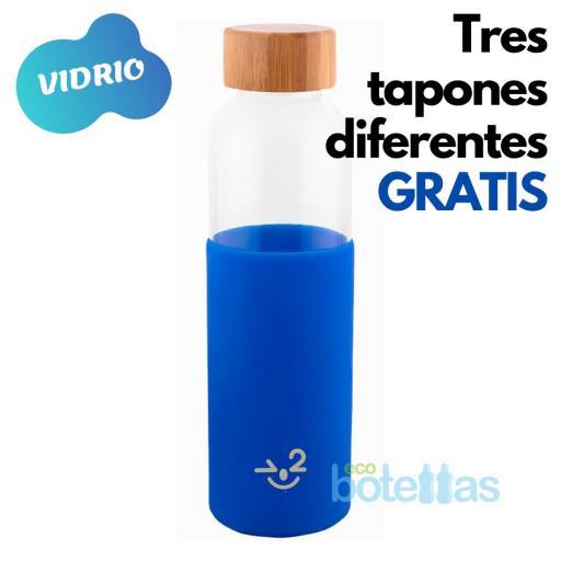 102-S Botella cristal Funda silicona Azul (500ml)