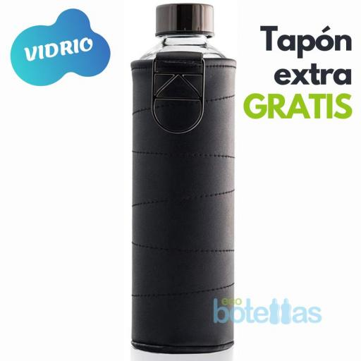 EQUA Graphite botella de cristal (750ml) con funda