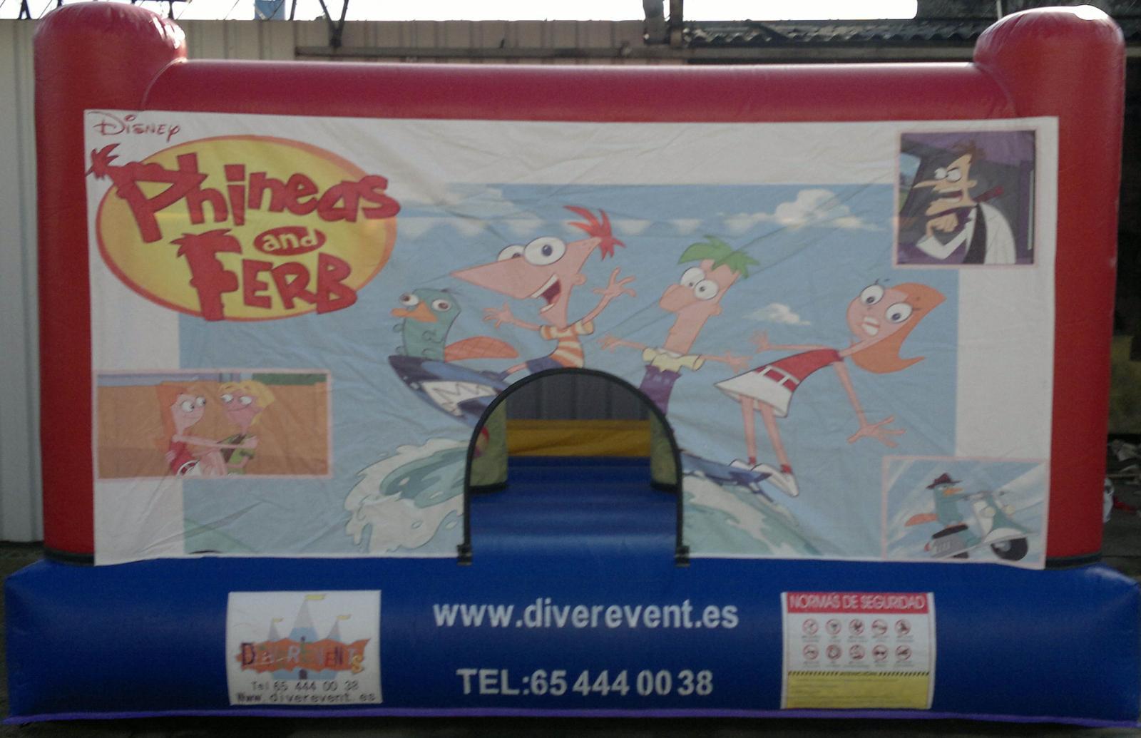 Phineas y ferb castillo hinchable 4x3 metros