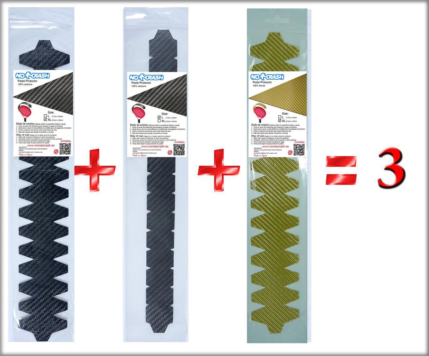 PADEL PROTECTOR carbono kevlar y fibras  PACK 3UD