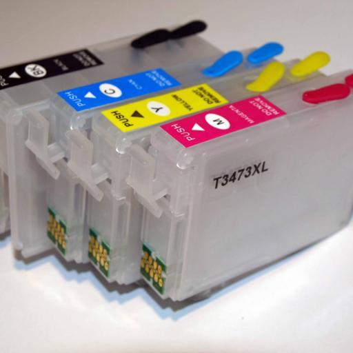 T34XL / Kit de Recarga con tinta OCP + cartuchos RECARGABLES con CHIP ARC compatible con serie T34XL  (No original epson) [1]
