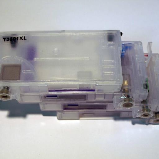 T34XL / Kit de Recarga con tinta OCP + cartuchos RECARGABLES con CHIP ARC compatible con serie T34XL  (No original epson) [2]