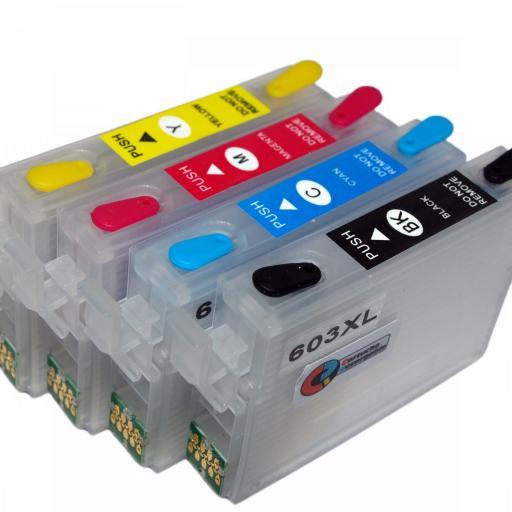 603XL / JUEGO DE CARTUCHOS RECARGABLES con Chip ARC para impresoras tipo EPSON Serie 603XL