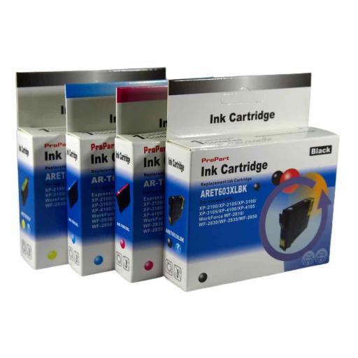 603 Juego de Cartuchos COMPATIBLES para EPSON mod. 603XL kit con 2 Negro + 3 Color
