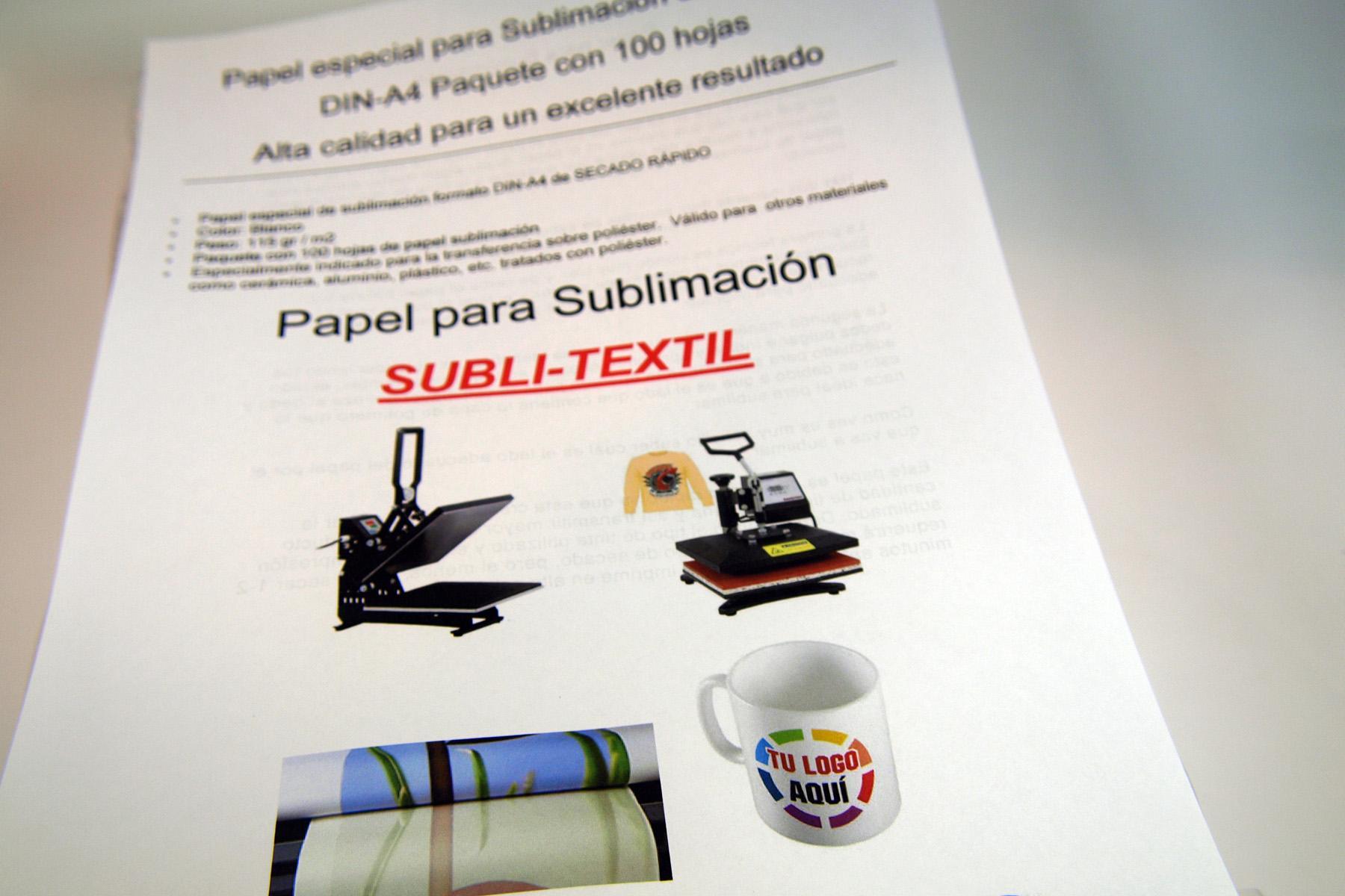 Papel Sublimación DIN-A4 115gr 100 hojas  SUBLI-TEXTIL