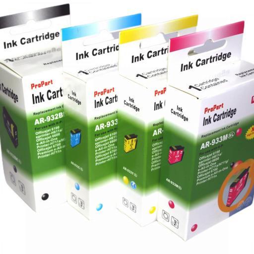 932 - 933 Juego de Cartuchos COMPATIBLES para HP Mod. 932 - 933XL 2 NEGRO+3 COLOR