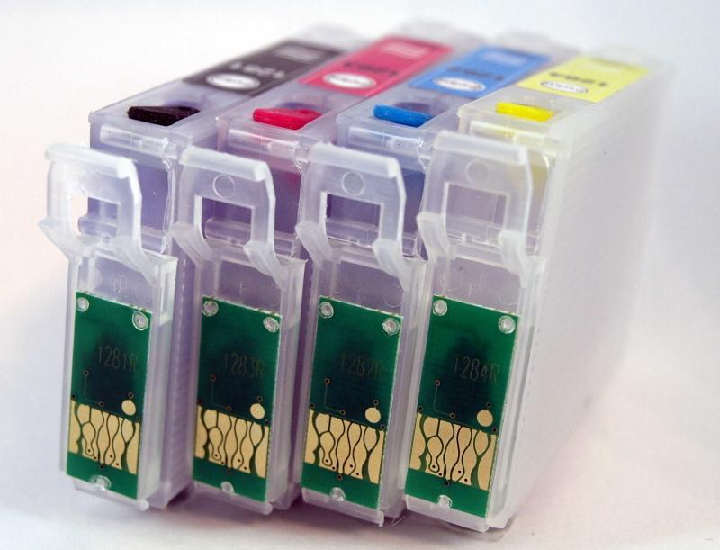 T128 / JUEGO DE CARTUCHOS RECARGABLES  con Chip ARC para impresoras tipo EPSON Serie T128.