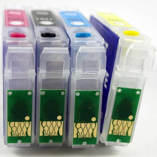 EPSON T129 / JUEGO DE CARTUCHOS RECARGABLES con Chip ARC para  uso en impresoras tipo EPSON Serie T129 MANZANA. [2]