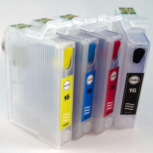 EPSON 16XL / JUEGO DE CARTUCHOS RECARGABLES con Chip ARC compatible con  cartuchos Serie 16 y 16XL PLUMA.