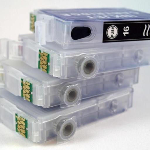 EPSON 16XL / JUEGO DE CARTUCHOS RECARGABLES con Chip ARC compatible con  cartuchos Serie 16 y 16XL PLUMA. [2]