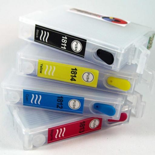 18XL / Kit de Recarga con tinta marca OCP + CARTUCHOS RECARGABLES con CHIP ARC compatible con serie 18 y 18XL Margarita (No original Epson) [1]