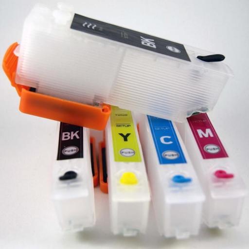 26XL / JUEGO DE CARTUCHOS RECARGABLES con Chip ARC para impresoras tipo EPSON Serie 26 y 26XL OSO POLAR.