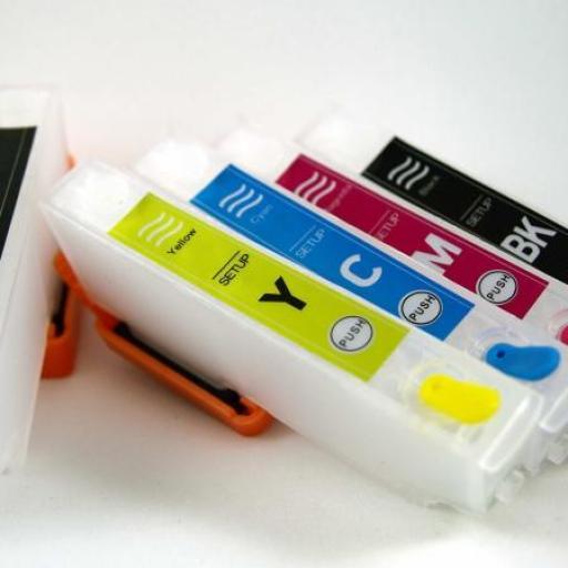 26XL / JUEGO DE CARTUCHOS RECARGABLES con Chip ARC para impresoras tipo EPSON Serie 26 y 26XL OSO POLAR.  [2]
