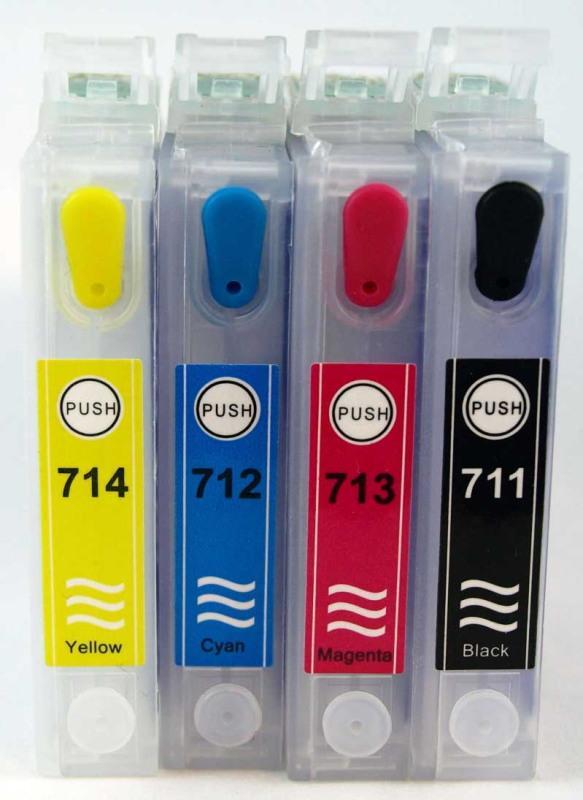 EPSON T071 / JUEGO DE CARTUCHOS RECARGABLES con CHIP ARC para uso en impresoras tipo  EPSON Serie T071 GUEPARDO.
