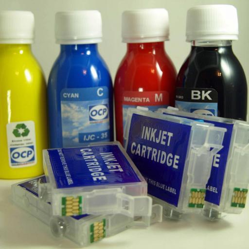 E502XL / Kit de Recarga con tinta OCP + cartuchos RECARGABLES con CHIP ARC compatible con serie E502XL  (No original epson) [1]