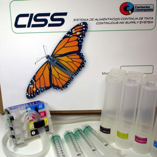 CISS 27XL con chip y botón de reset  compatible EPSON