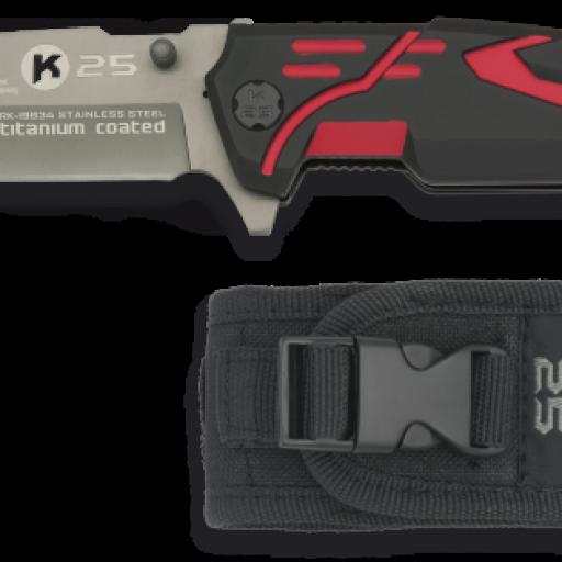 navaja K25 roja / negra tit.coated. FOS