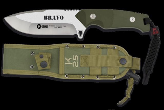Cuchillo K25. BRAVO.cachas verde.12.5