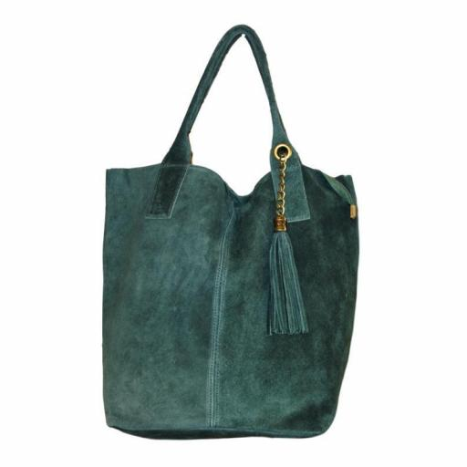 BOLSO SHOPPER ANTE VERDE BOTELLA