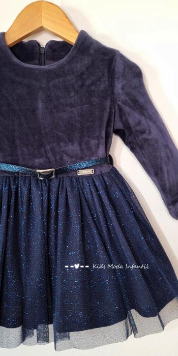 Vestido niña velvet corte cintura y falda tul brillo en color azul marino de Nekenia