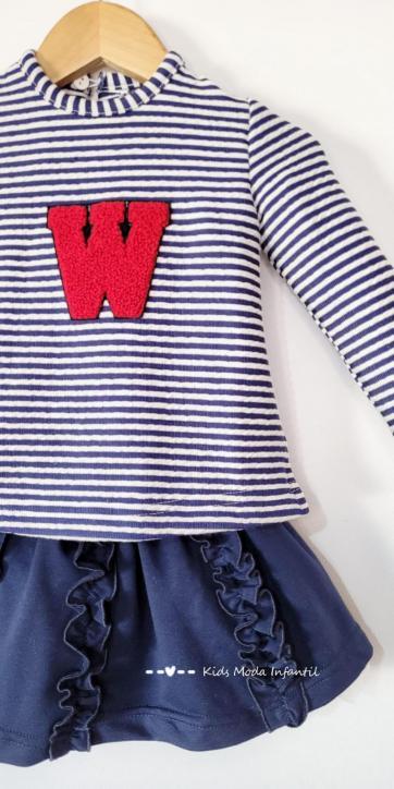 Conjunto niña camiseta rayas y falda volantes de Nekenia