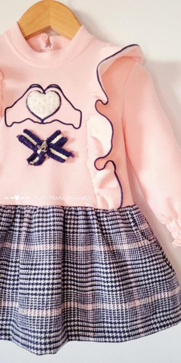 Vestido niña sudadera rosa con falda de cuadros pata de gallo de Nekenia