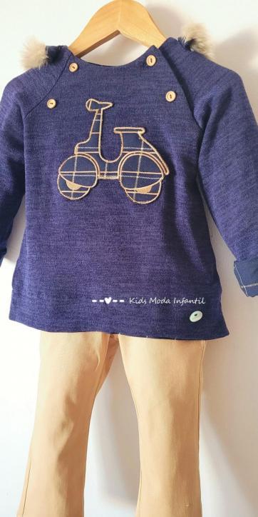 Conjunto bebe vestir jersey vespa y pantalón camel Basmarti