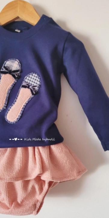Conjunto bebe niña camiseta marino con manoletinas y culetín falda rosa Cuka Moda Infantil