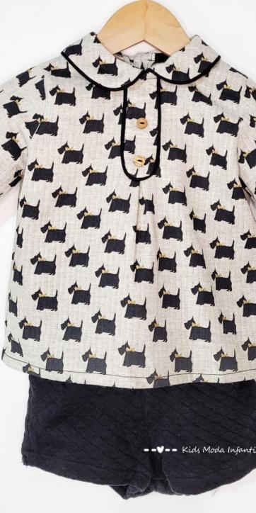 Conjunto bebe vestir camisa perros y short punto de Basmarti [2]