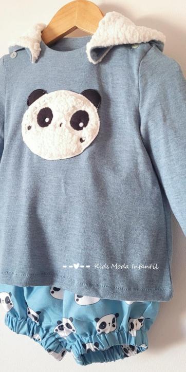 Conjunto bebe niño vestir jersey punto oso panda y bombacho de Cuka Moda Infantil [2]