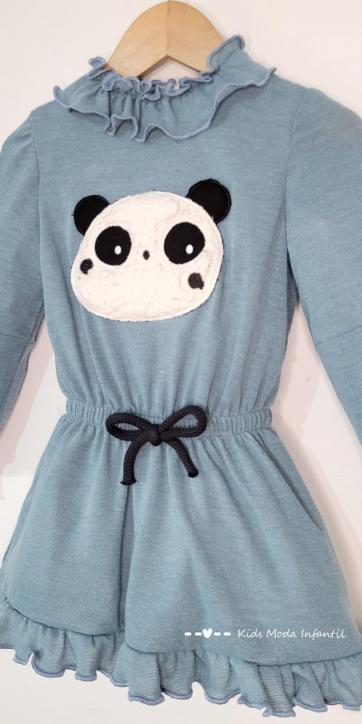 Vestido niña punto azul con oso panda Cuka Moda Infantil [2]