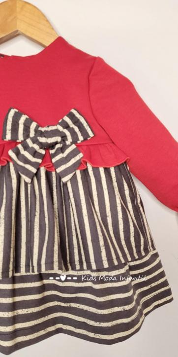 Vestido bebe vestir punto rojo y rayas rayas negras y beige de Cuka Moda Infantil