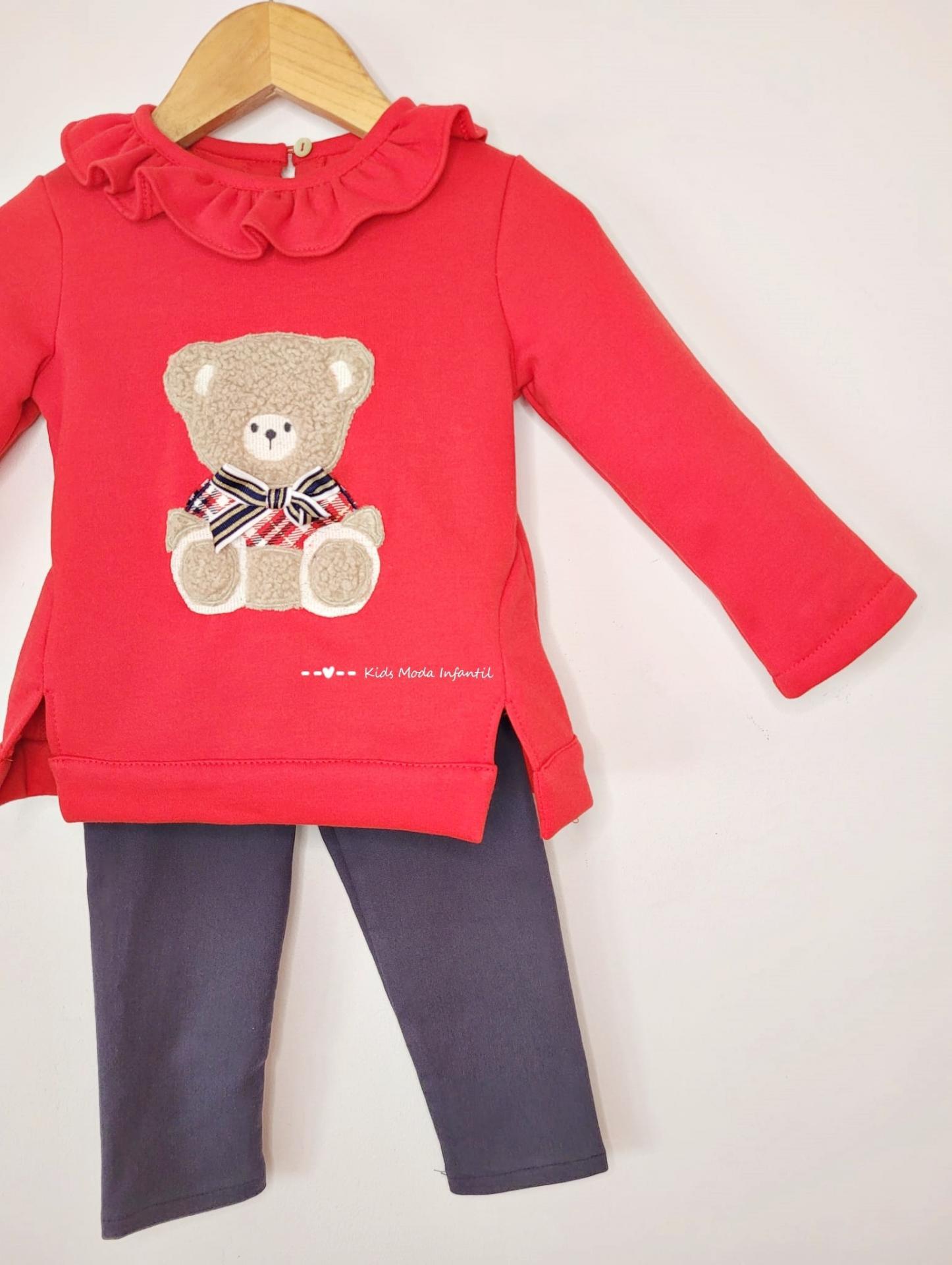 Conjunto niña legging y sudadera roja oso de Coco Acqua Moda Infantil