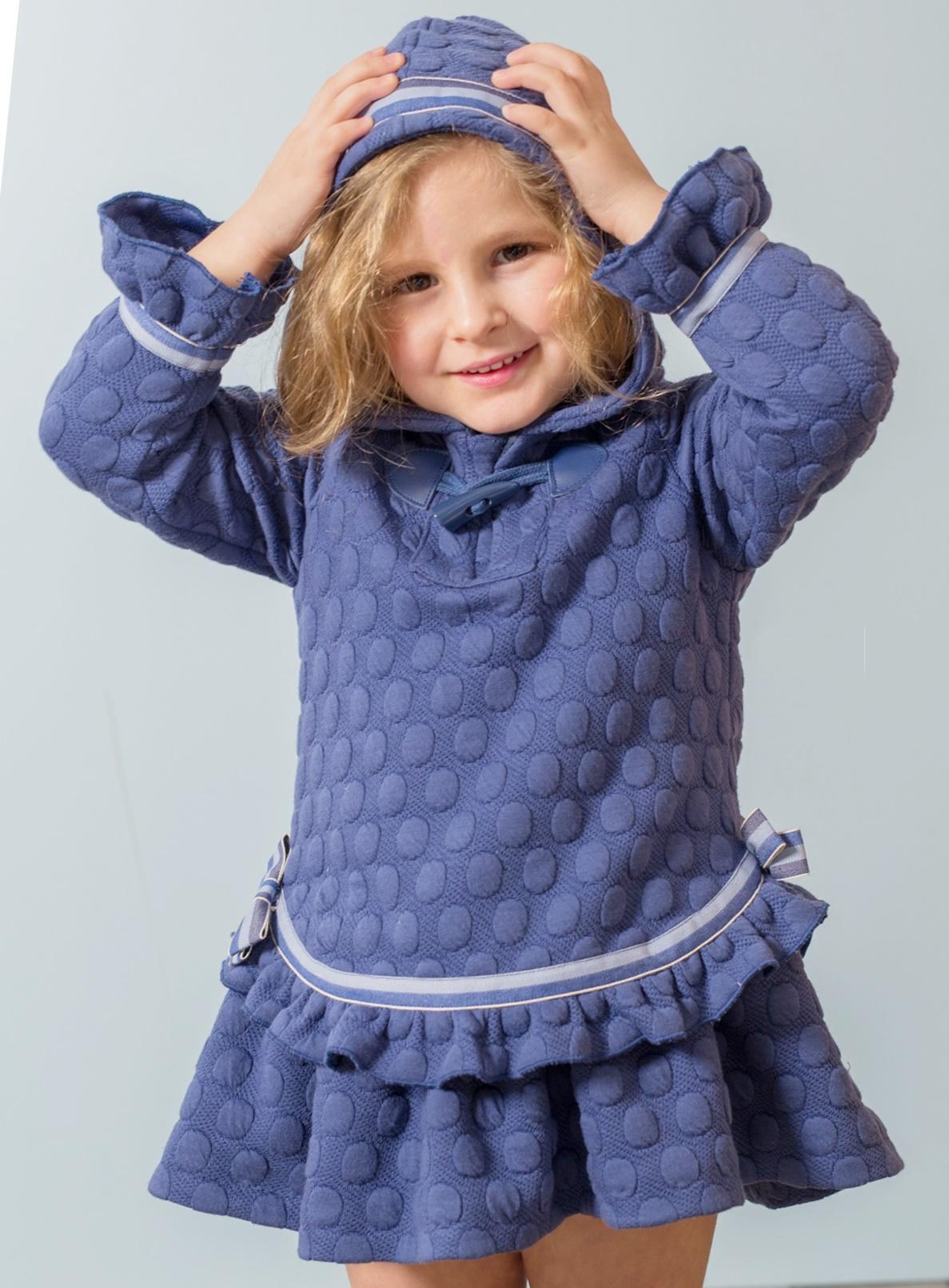 Vestido niña vestir azulón con capucha de Basmartí