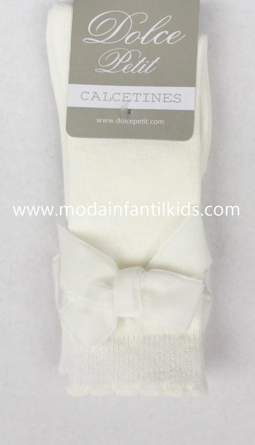 Calceta lazo bebe y niña beige Dolce Petit 2502/C