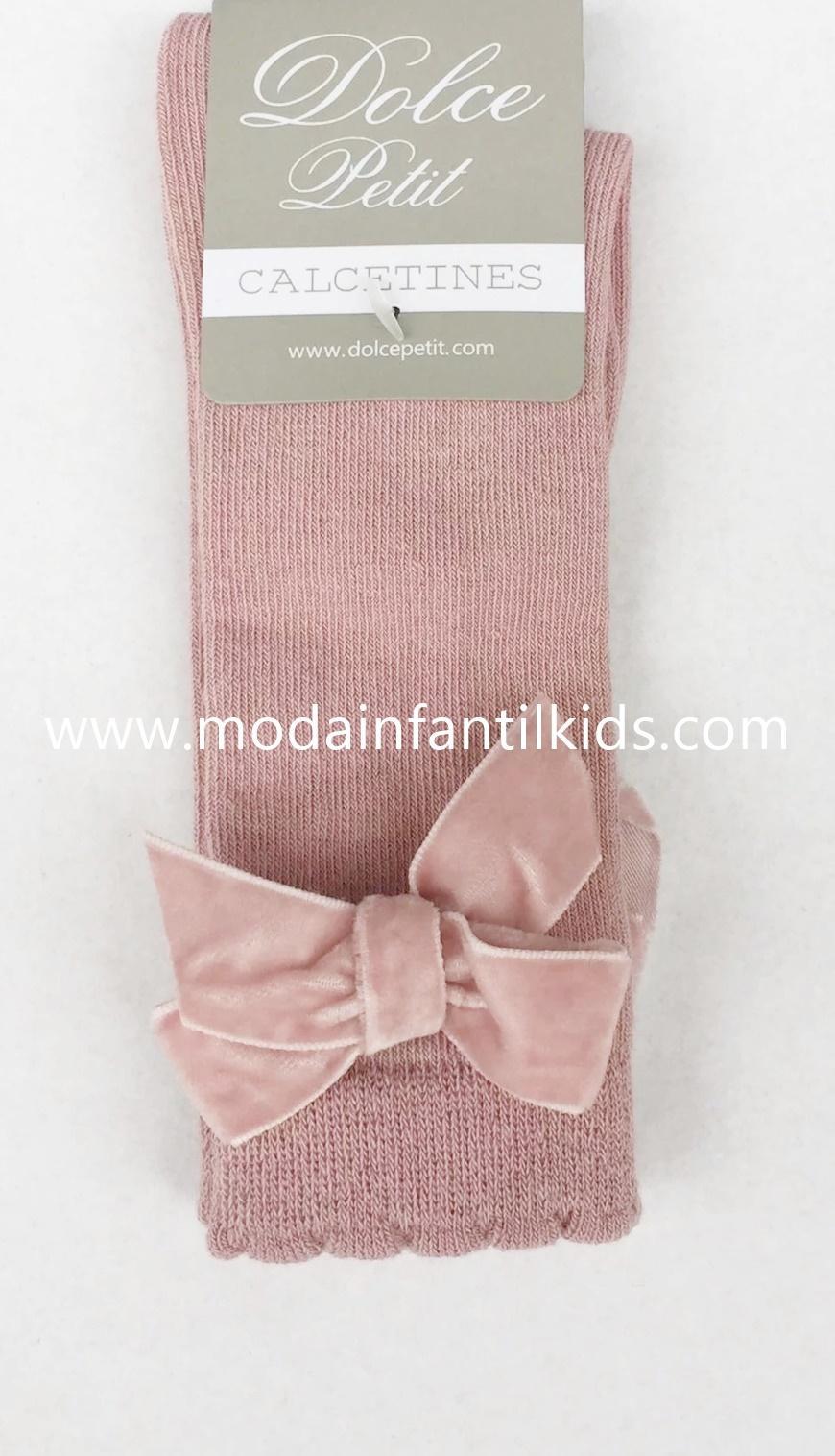 Calceta lazo bebe y niña rosa empolvado Dolce Petit 2502/C