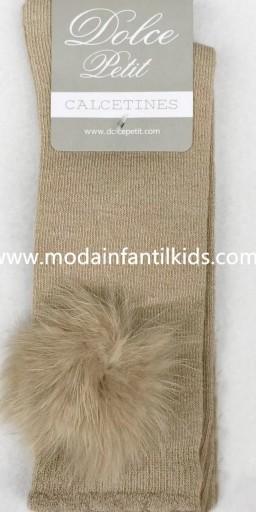Calceta pompón bebe y niña camel Dolce Petit 2505/C