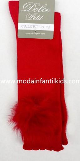 Calceta pompón bebe y niña rojo Dolce Petit 2505/C
