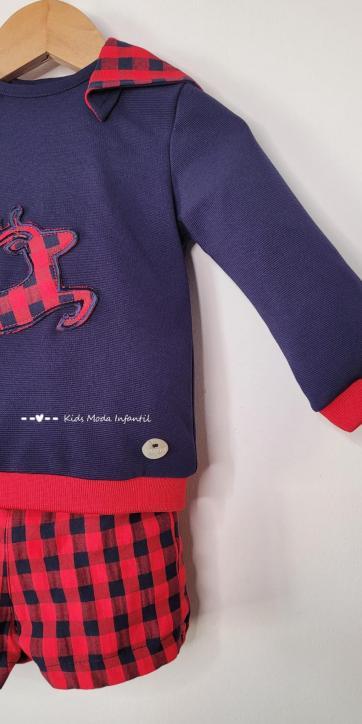 Conjunto bebe niño vestir sudadera reno y Short vichy de Basmarti