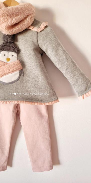Conjunto niña sudadera pingüino y legging de Coco Acqua Moda Infantil