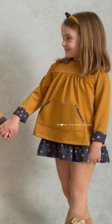 Vestido niña invierno mostaza y estrellas estampadas de Cuka Moda Infantil [1]