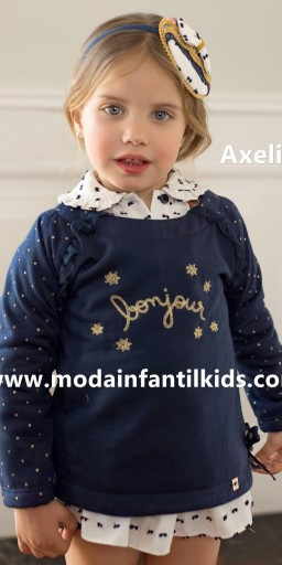 "Dolce Petit Sudadera niña Bonjour azul marino ""Axelia"" 2214/S"