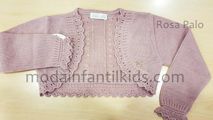 Rebeca para niña Dolce Petit de punto rosa palo abierta 2202-R
