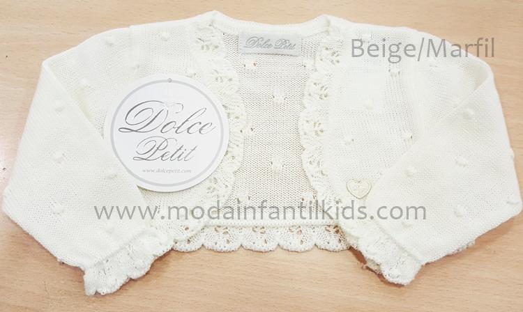 Rebeca para bebe Dolce Petit de punto color beige/marfil abierta 2100-R