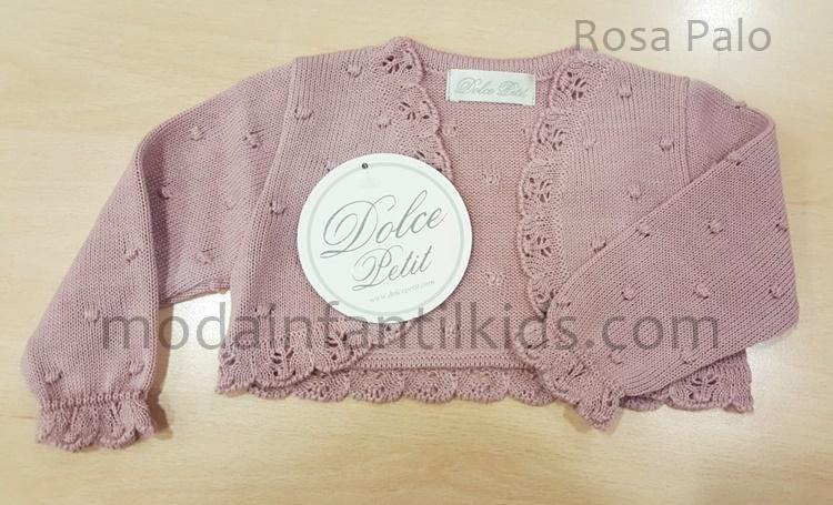 Rebeca para bebe Dolce Petit de punto color rosa palo abierta 2100-R