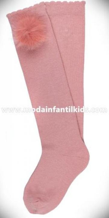 Calceta pompon bebe y niña rosa empolvado Dolce Petit 2505/C