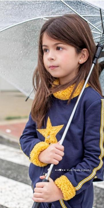 Sudadera niña corta marino de estrella borreguito Vera Moda Infantil
