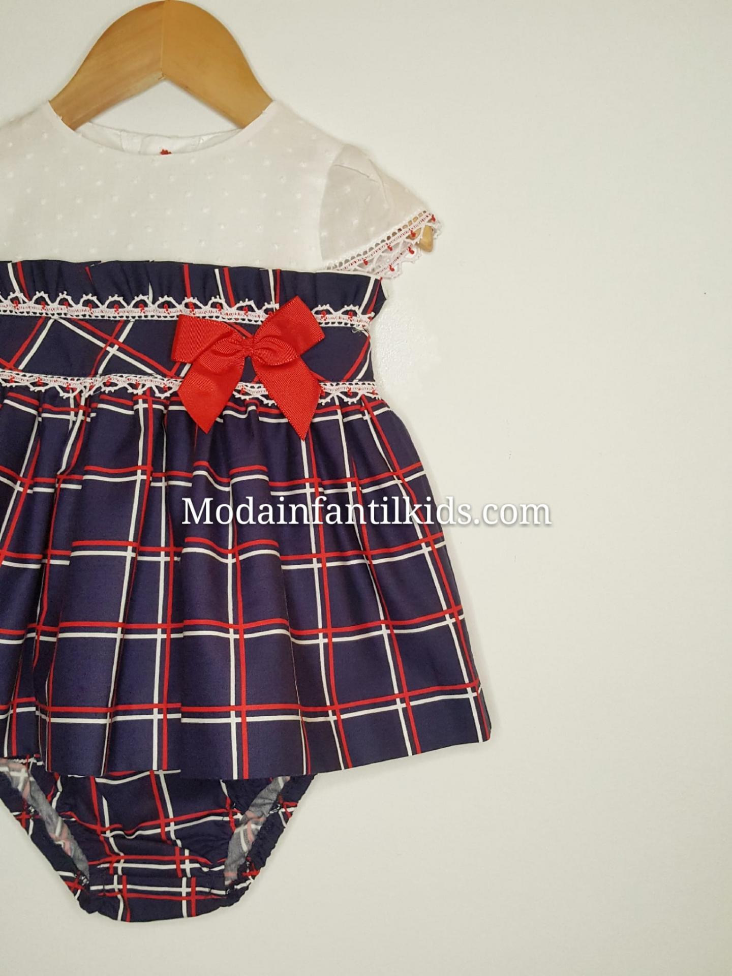 Miranda-156 VB-Vestido-bebe-marino-cuadros-rojos-y-blancos